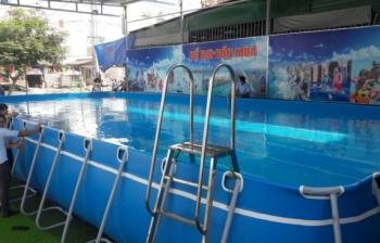 Bể bơi khung kim loại, KT: 9.6m x 21.6m x 1.2m