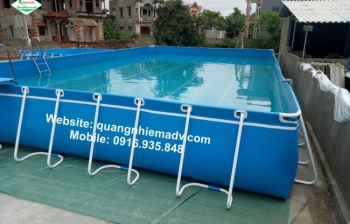 Bể bơi khung kim loại, KT: 9.6m x 24.6m x 1.2m