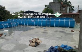 Bể bơi khung kim loại, KT: 9.6m x 18.6m x 1.2